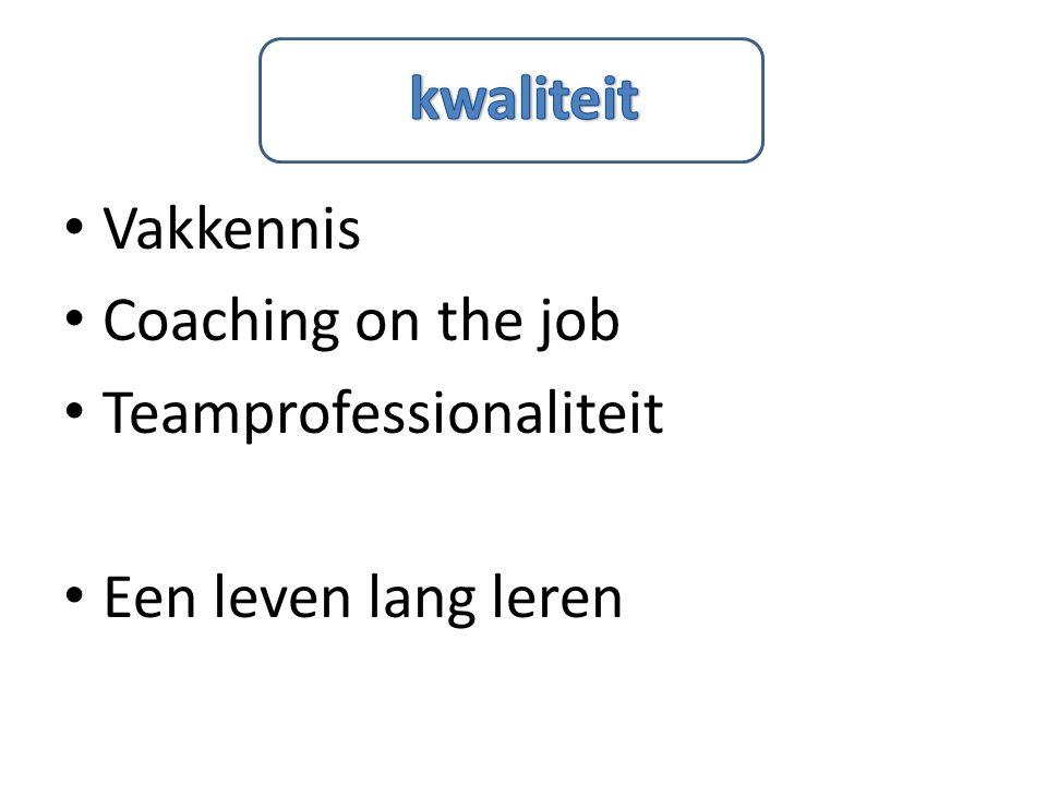 kwaliteit Vakkennis Coaching on the job Teamprofessionaliteit Een leven lang leren