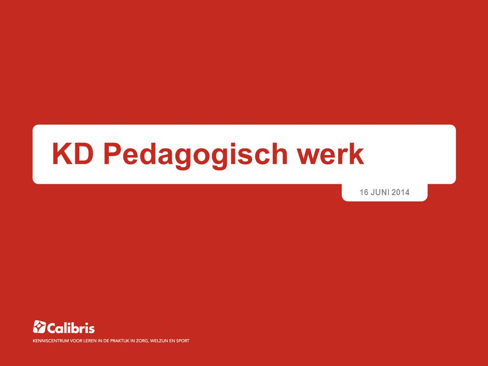 KD Pedagogisch werk 16 JUNI 2014 © Calibris