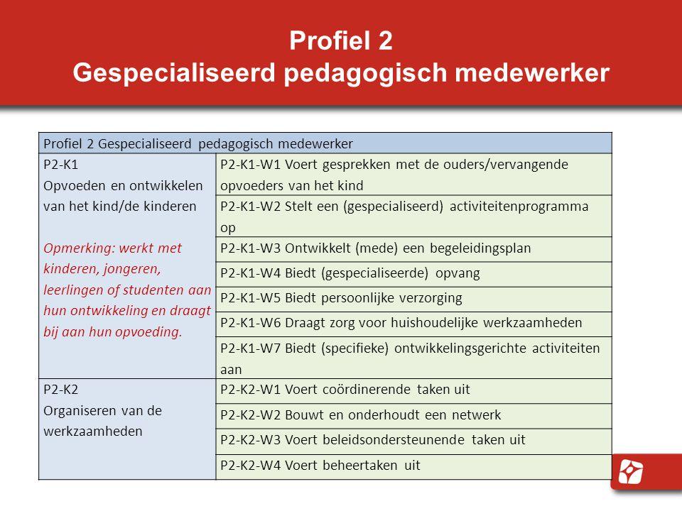 Profiel 2 Gespecialiseerd pedagogisch medewerker