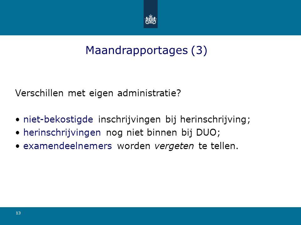 Maandrapportages (3) Verschillen met eigen administratie