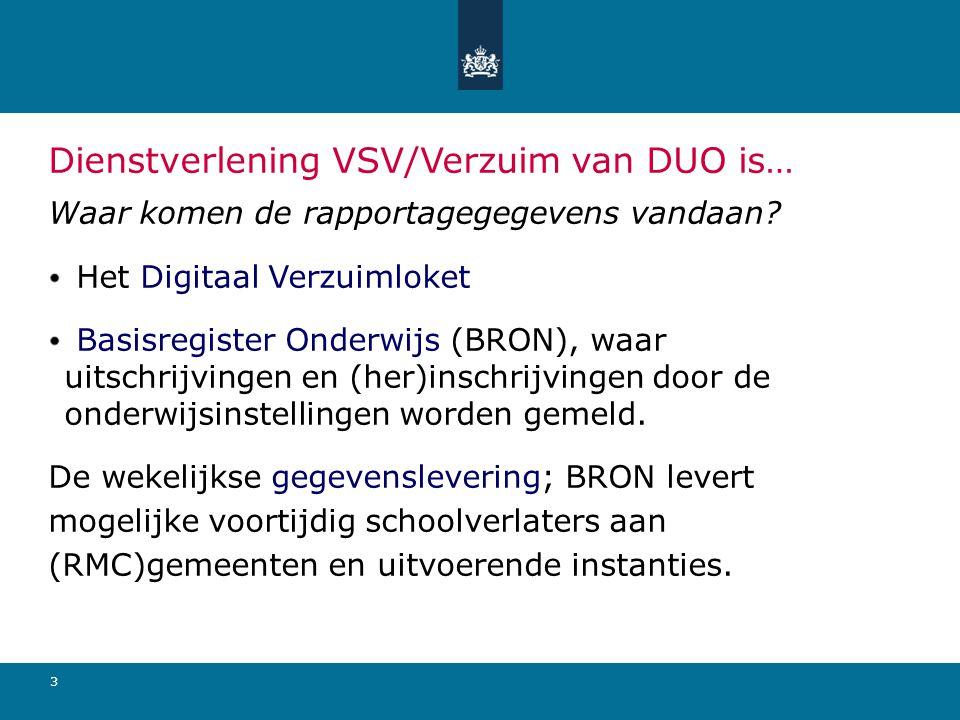 Dienstverlening VSV/Verzuim van DUO is…