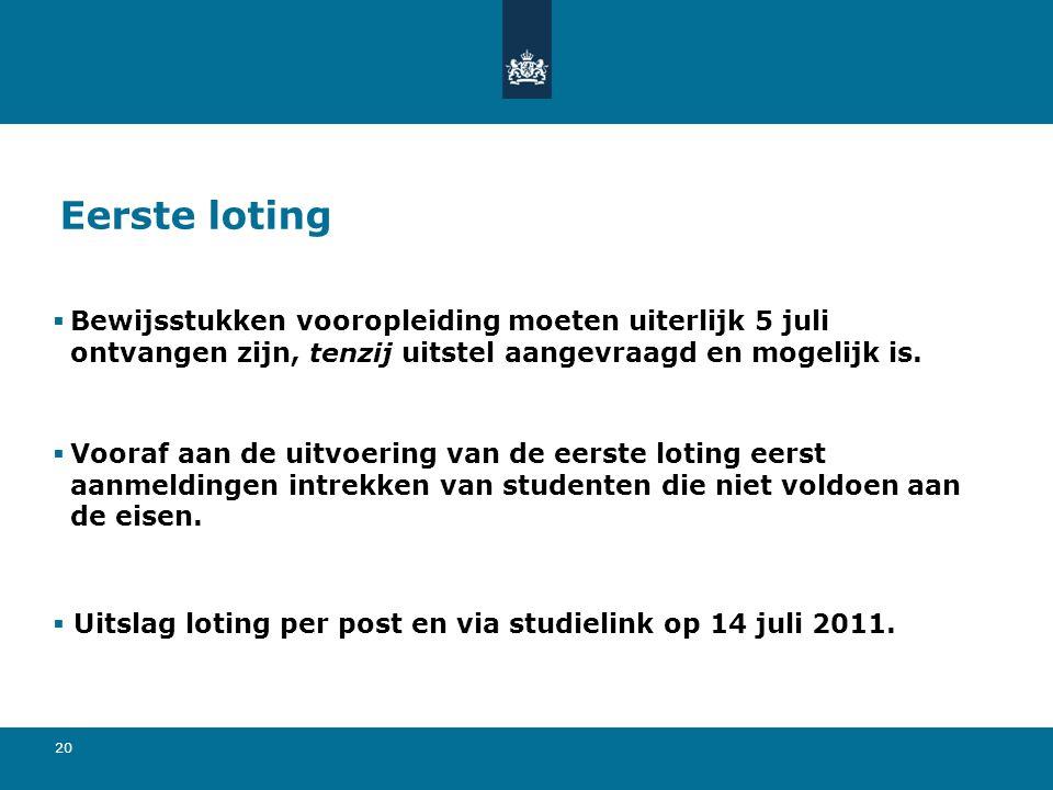 Eerste loting Bewijsstukken vooropleiding moeten uiterlijk 5 juli ontvangen zijn, tenzij uitstel aangevraagd en mogelijk is.