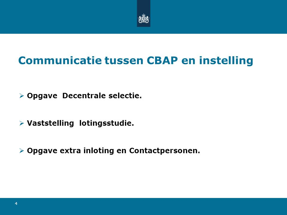 Communicatie tussen CBAP en instelling