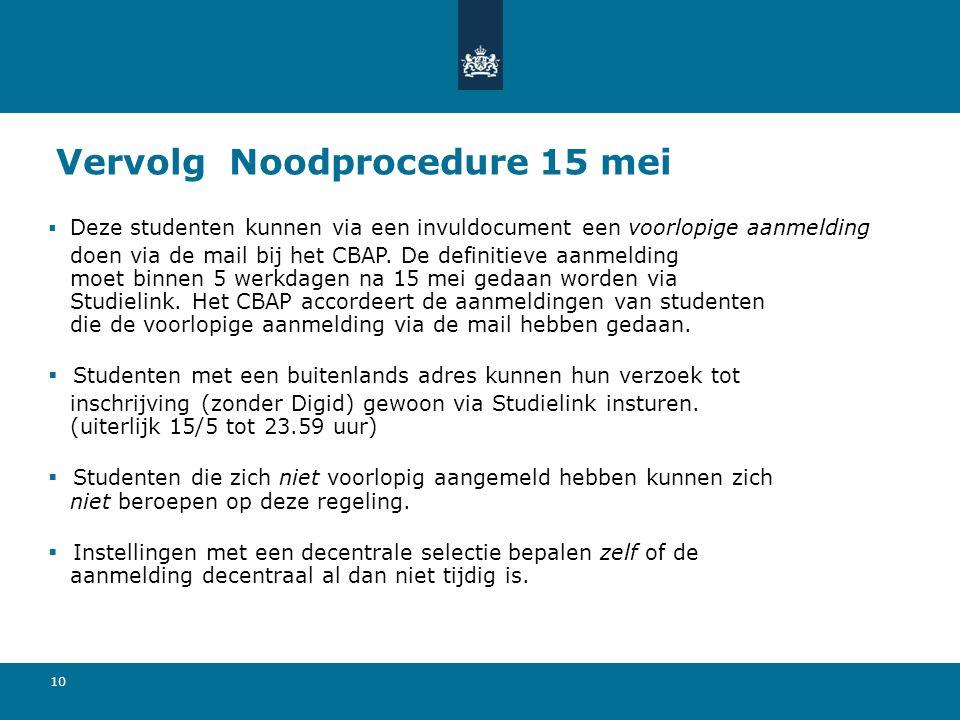 Vervolg Noodprocedure 15 mei