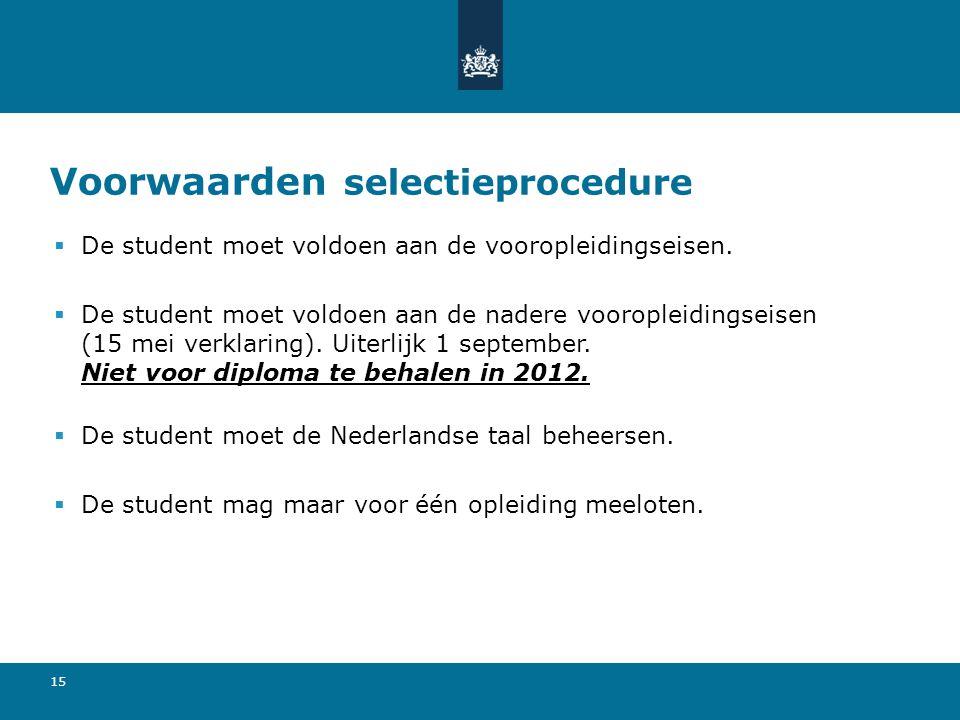 Voorwaarden selectieprocedure