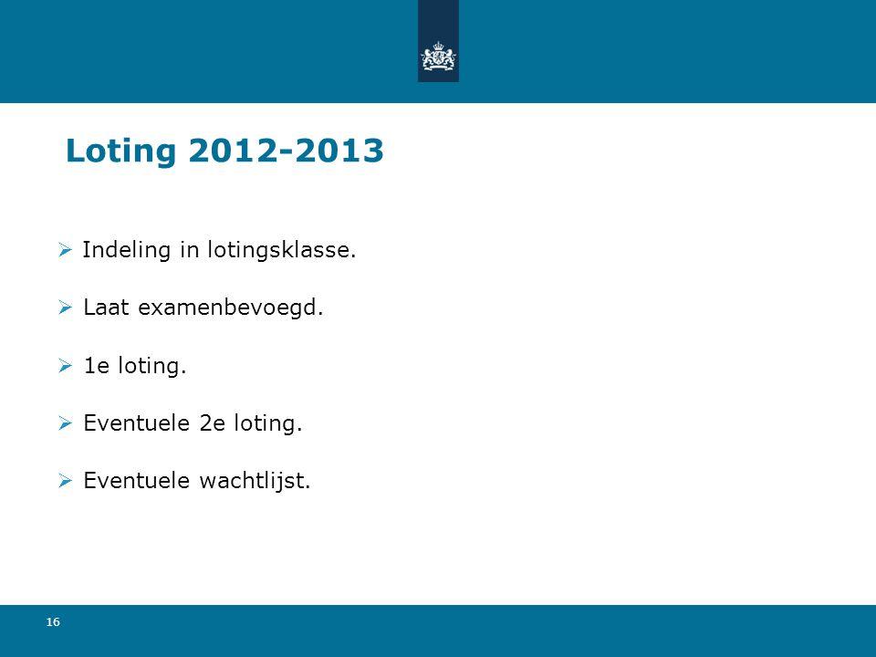 Loting 2012-2013 Indeling in lotingsklasse. Laat examenbevoegd.