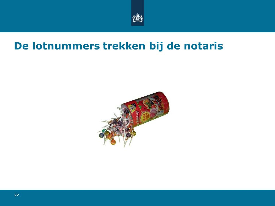 De lotnummers trekken bij de notaris