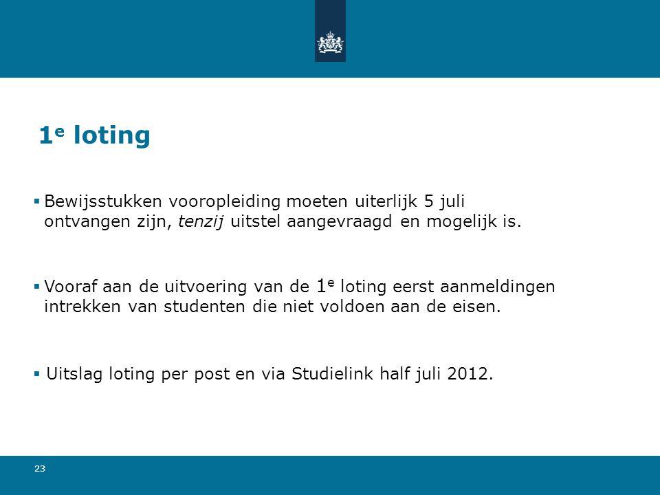 1e loting Bewijsstukken vooropleiding moeten uiterlijk 5 juli ontvangen zijn, tenzij uitstel aangevraagd en mogelijk is.