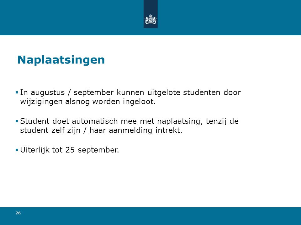 Naplaatsingen In augustus / september kunnen uitgelote studenten door wijzigingen alsnog worden ingeloot.