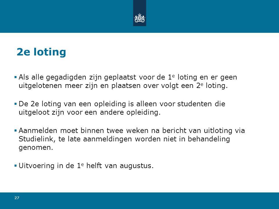 2e loting Als alle gegadigden zijn geplaatst voor de 1e loting en er geen uitgelotenen meer zijn en plaatsen over volgt een 2e loting.