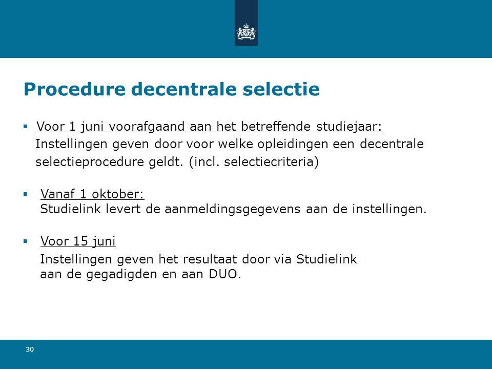 Procedure decentrale selectie