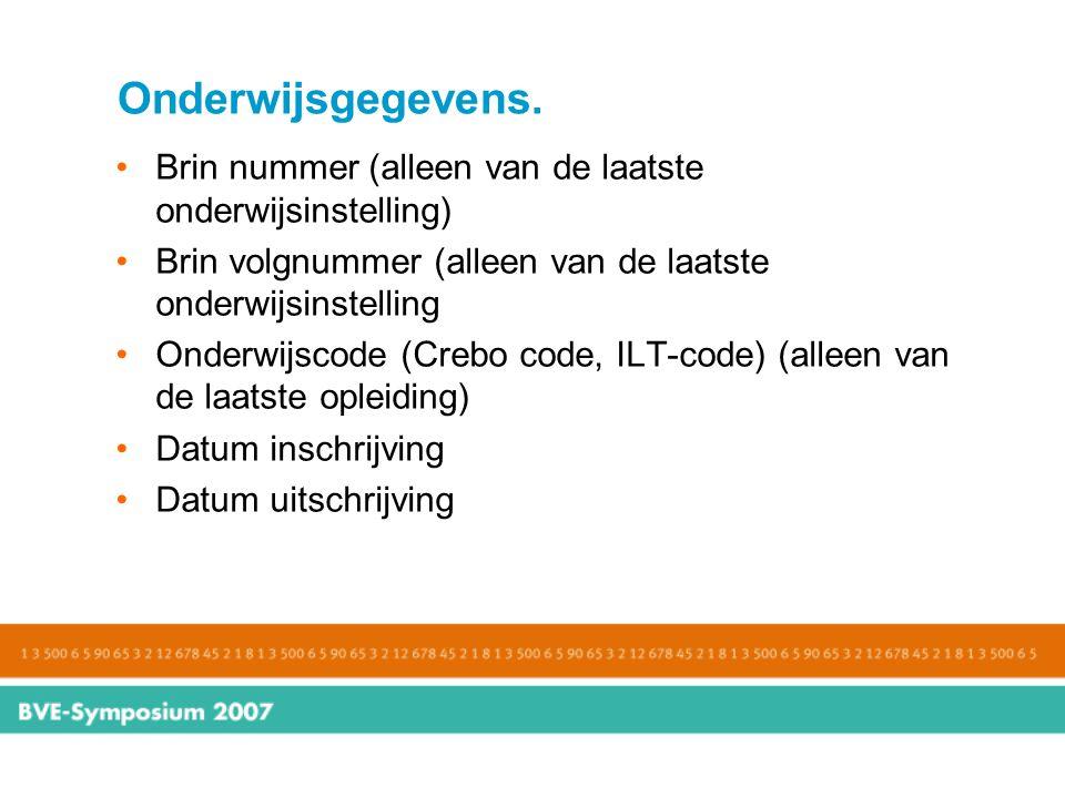 Onderwijsgegevens. Brin nummer (alleen van de laatste onderwijsinstelling) Brin volgnummer (alleen van de laatste onderwijsinstelling.
