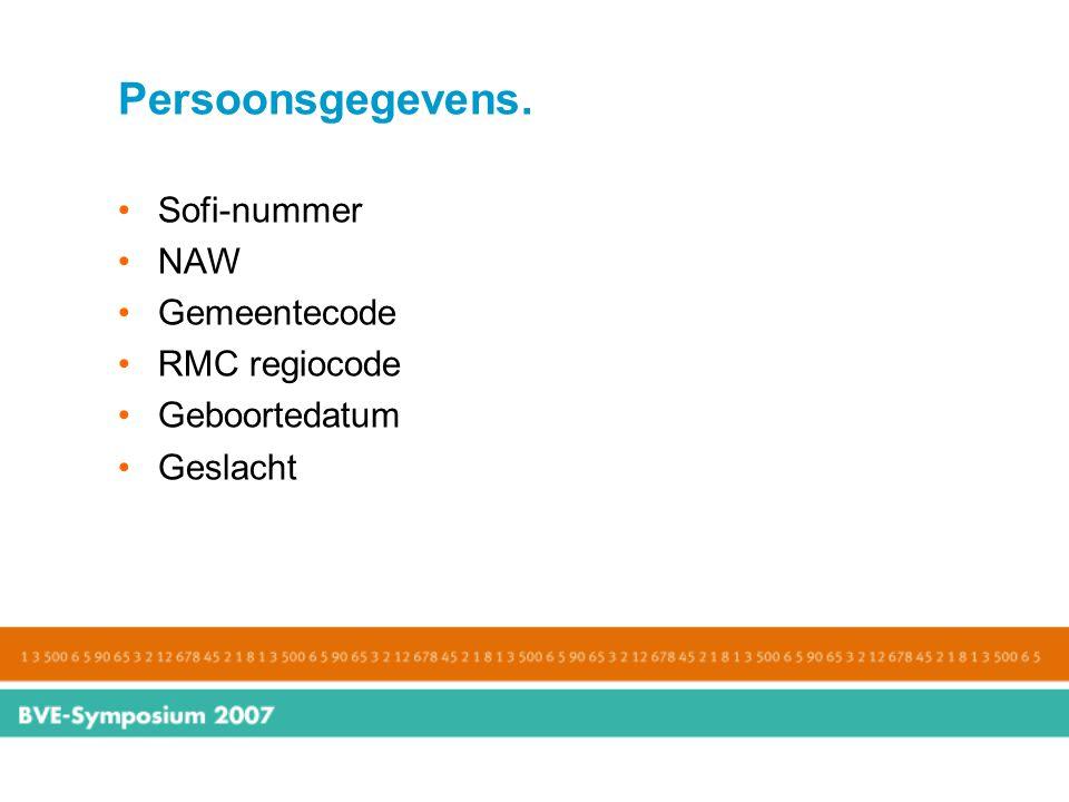 Persoonsgegevens. Sofi-nummer NAW Gemeentecode RMC regiocode