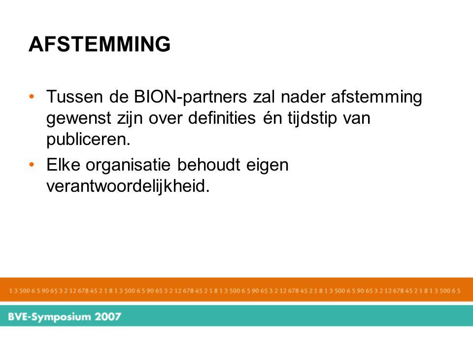 AFSTEMMING Tussen de BION-partners zal nader afstemming gewenst zijn over definities én tijdstip van publiceren.