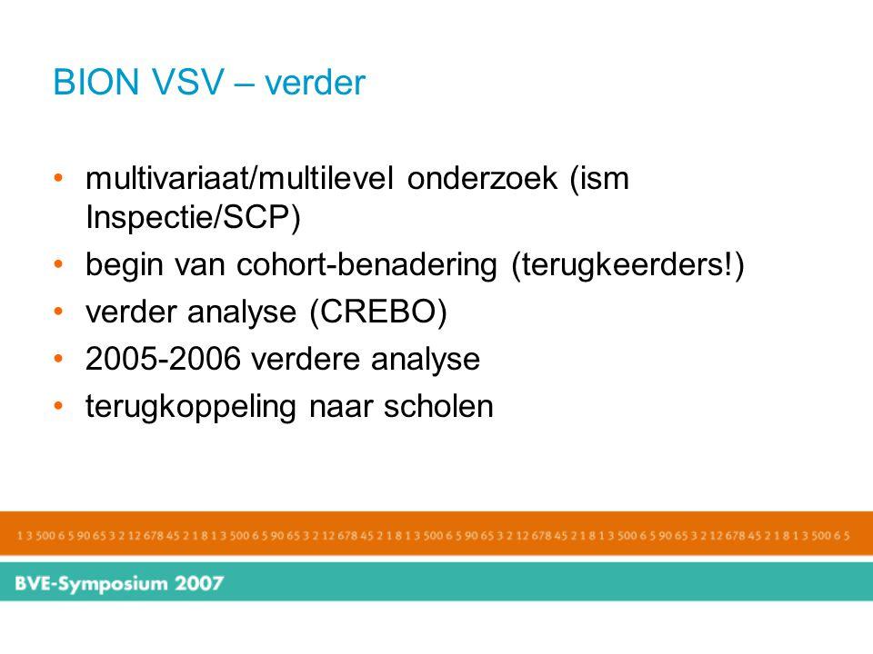 BION VSV – verder multivariaat/multilevel onderzoek (ism Inspectie/SCP) begin van cohort-benadering (terugkeerders!)