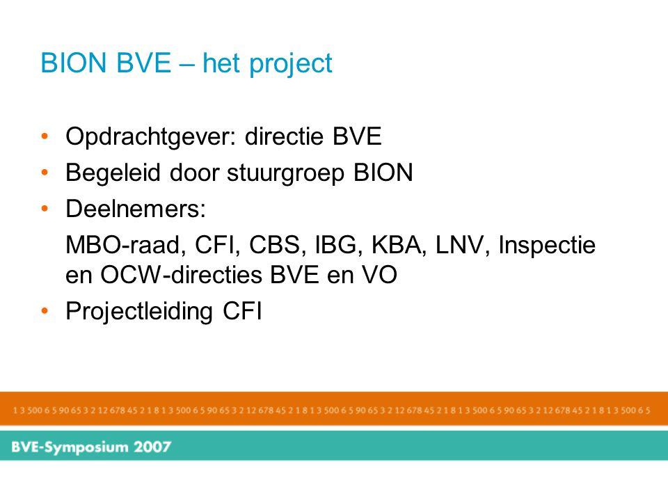 BION BVE – het project Opdrachtgever: directie BVE