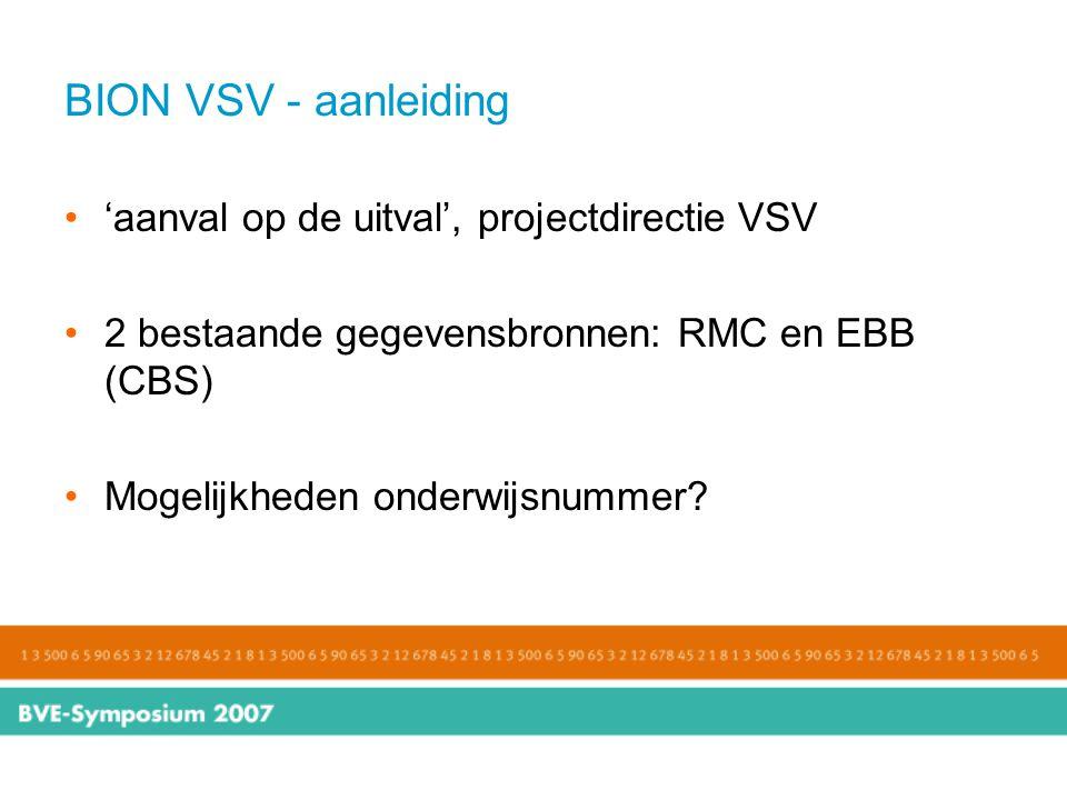 BION VSV - aanleiding 'aanval op de uitval', projectdirectie VSV