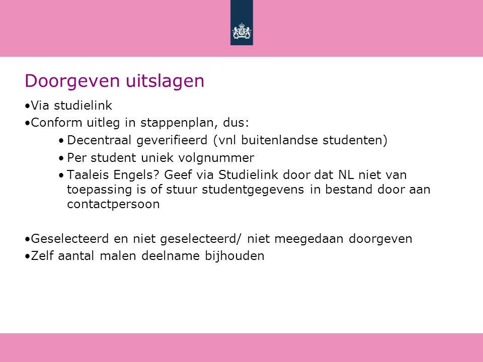 Doorgeven uitslagen Via studielink Conform uitleg in stappenplan, dus: