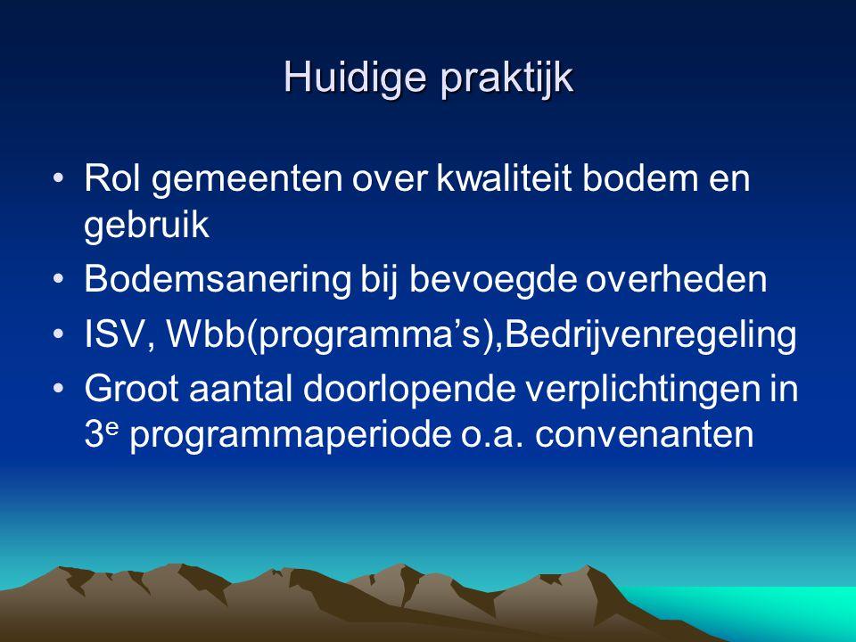Huidige praktijk Rol gemeenten over kwaliteit bodem en gebruik