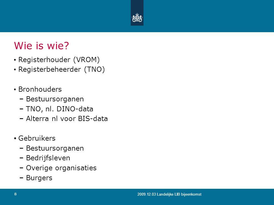 Wie is wie Registerhouder (VROM) Registerbeheerder (TNO) Bronhouders