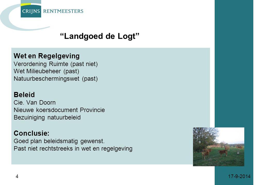 Landgoed de Logt Wet en Regelgeving Beleid Conclusie: