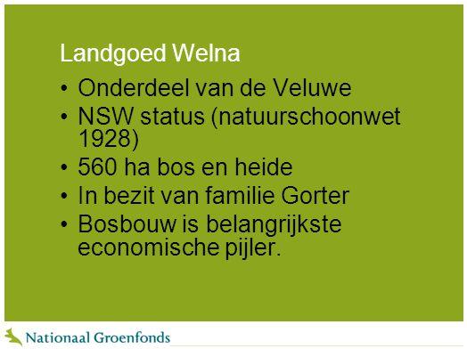 Landgoed Welna Onderdeel van de Veluwe. NSW status (natuurschoonwet 1928) 560 ha bos en heide. In bezit van familie Gorter.