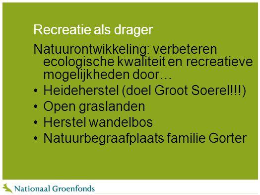 Recreatie als drager Natuurontwikkeling: verbeteren ecologische kwaliteit en recreatieve mogelijkheden door…
