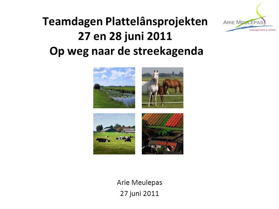 Teamdagen Plattelânsprojekten 27 en 28 juni 2011 Op weg naar de streekagenda