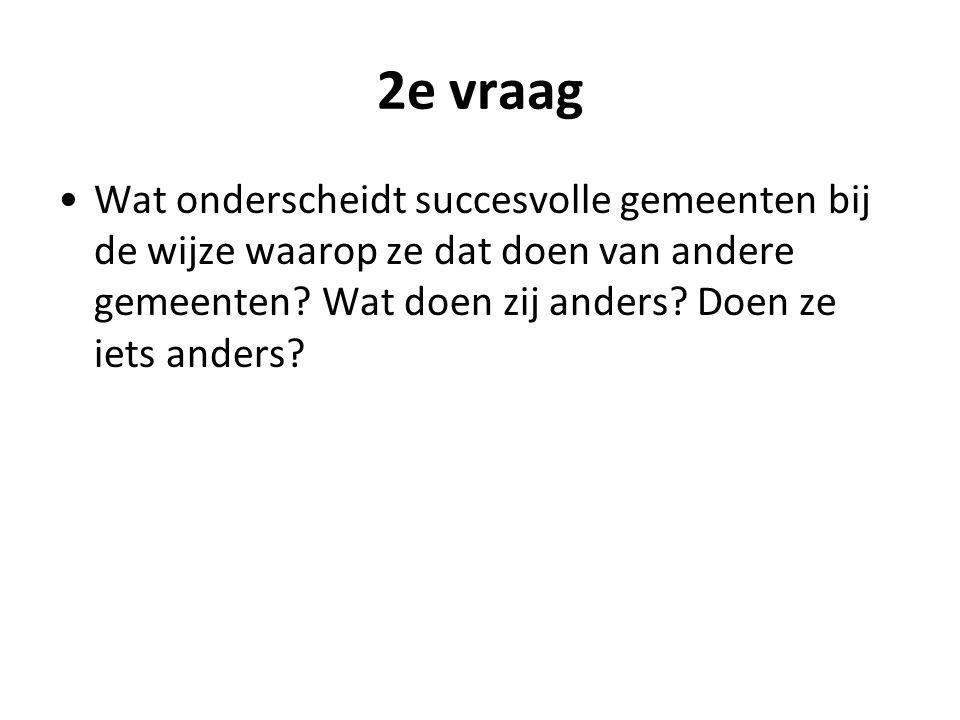 2e vraag Wat onderscheidt succesvolle gemeenten bij de wijze waarop ze dat doen van andere gemeenten.