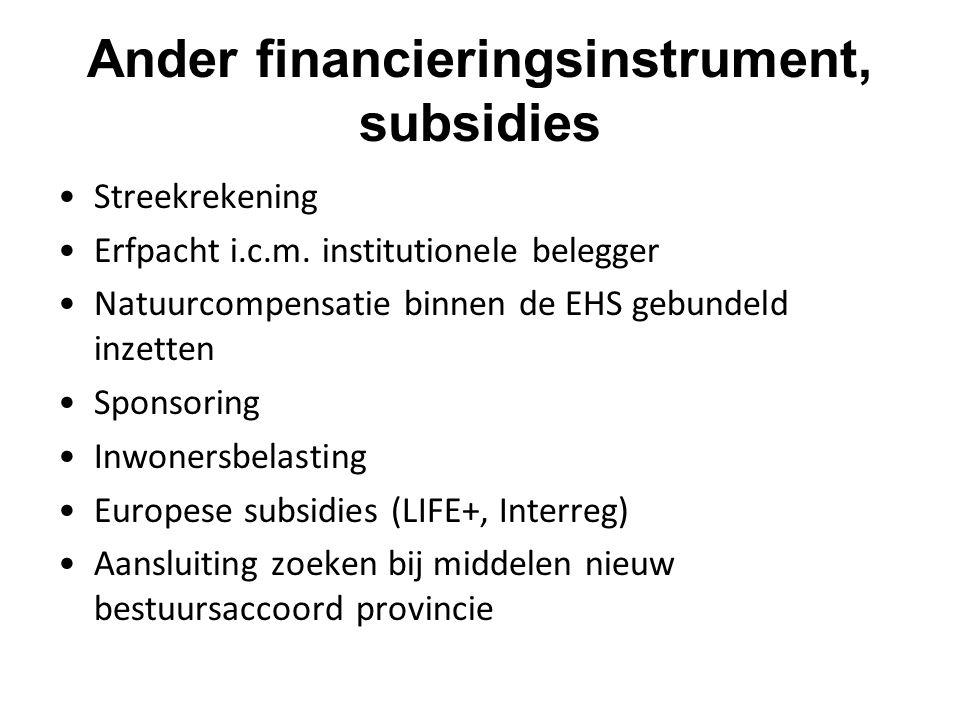 Ander financieringsinstrument, subsidies