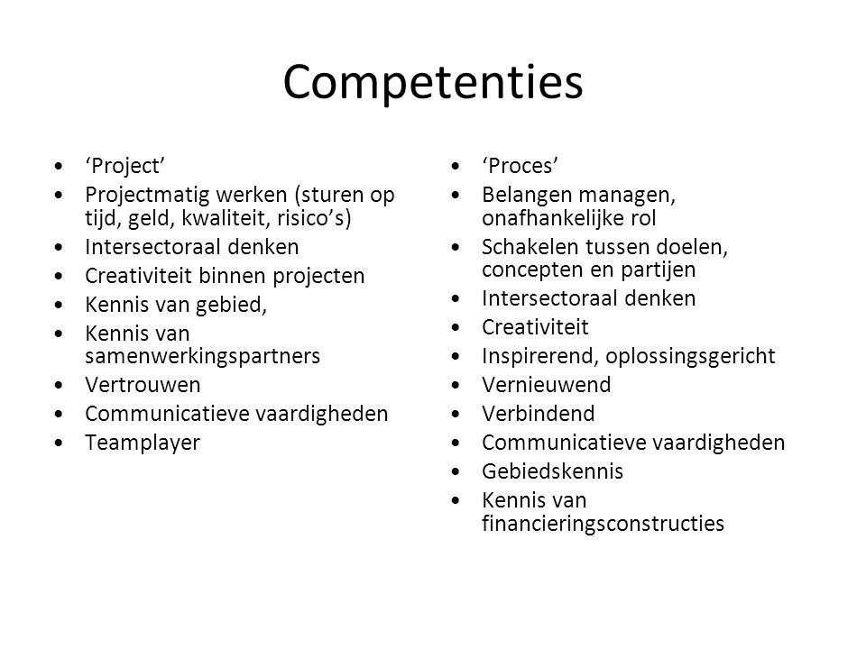 Competenties 'Project'