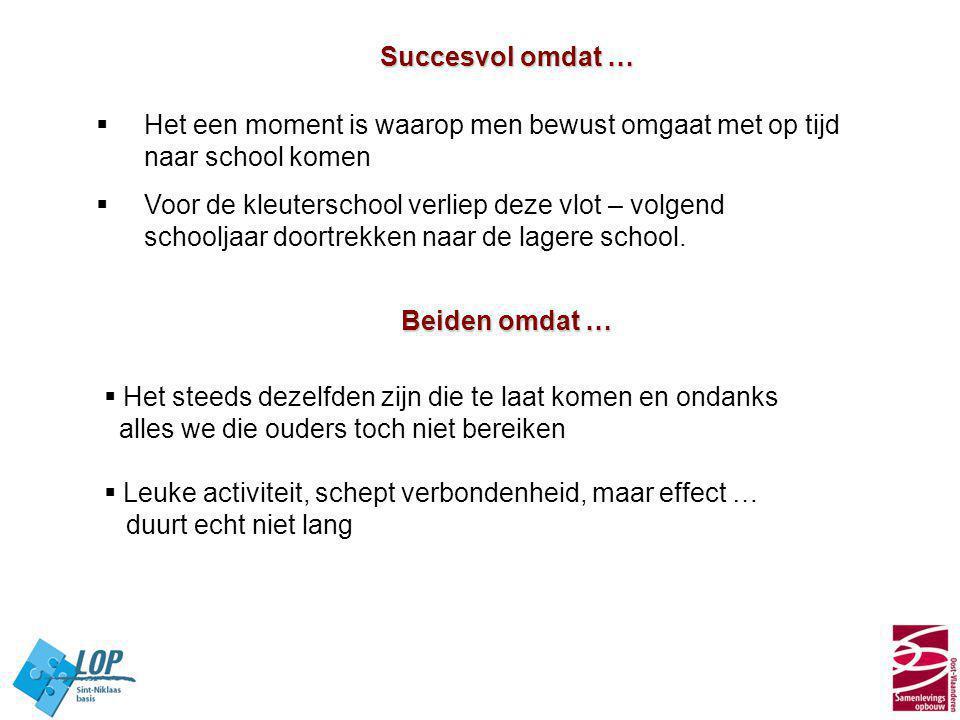 Succesvol omdat … Het een moment is waarop men bewust omgaat met op tijd naar school komen.
