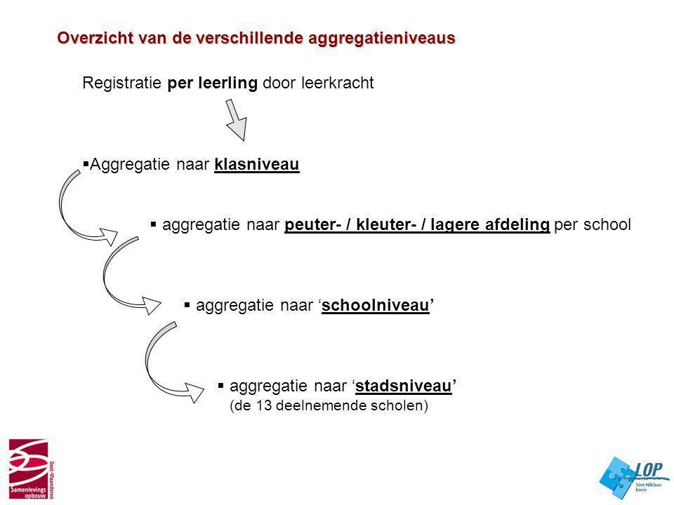 Overzicht van de verschillende aggregatieniveaus
