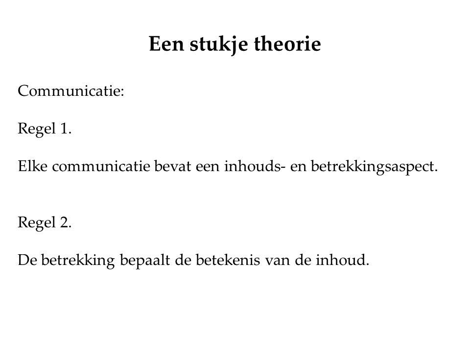 Een stukje theorie Communicatie: Regel 1.