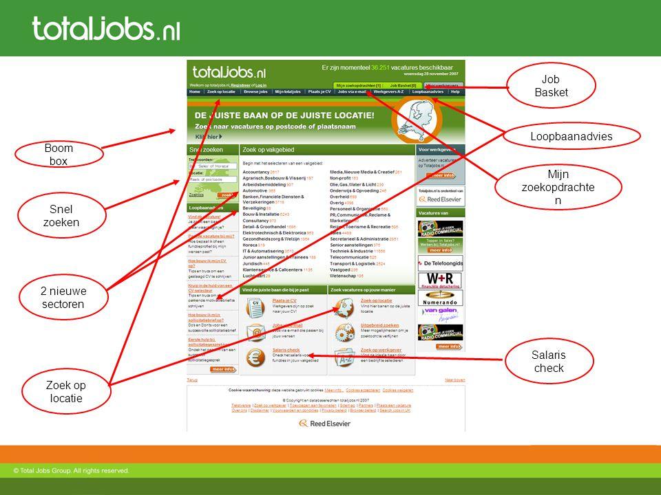 Job Basket Loopbaanadvies. Boom box. Mijn zoekopdrachten. Snel zoeken. 2 nieuwe sectoren. Salaris check.