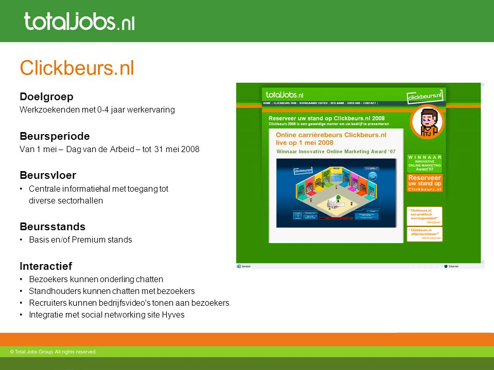 Clickbeurs.nl Doelgroep Beursperiode Beursvloer Beursstands