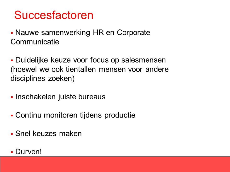 Succesfactoren Nauwe samenwerking HR en Corporate Communicatie