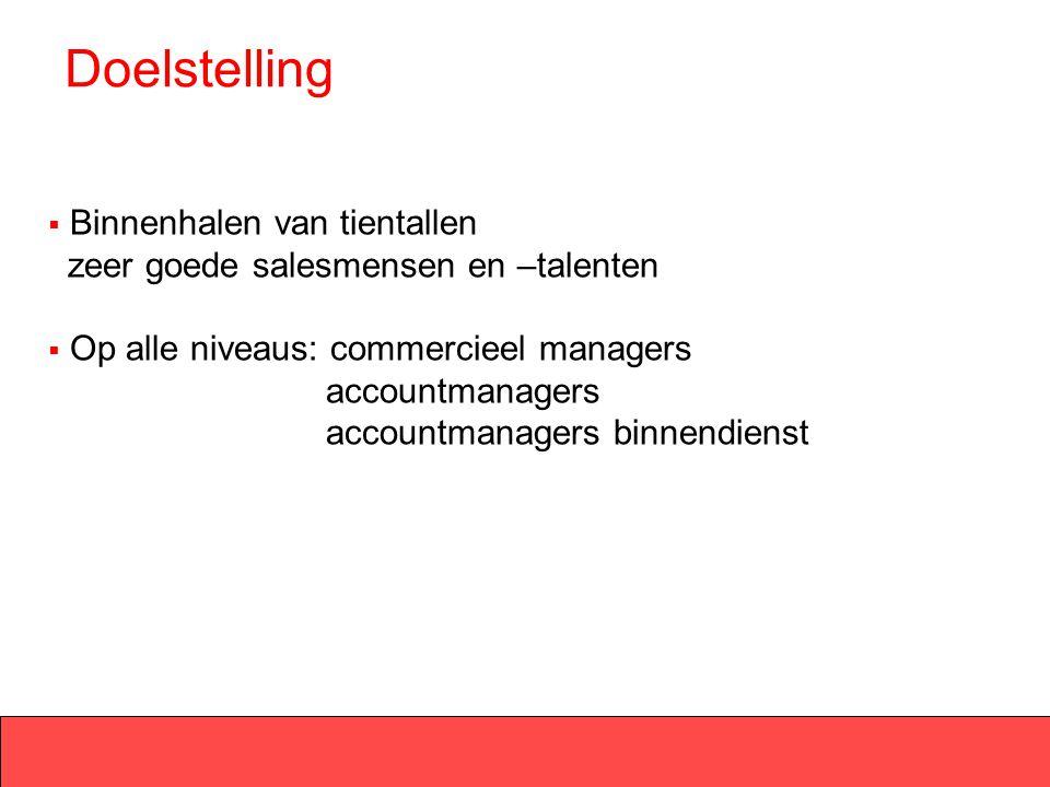 Doelstelling Binnenhalen van tientallen zeer goede salesmensen en –talenten.