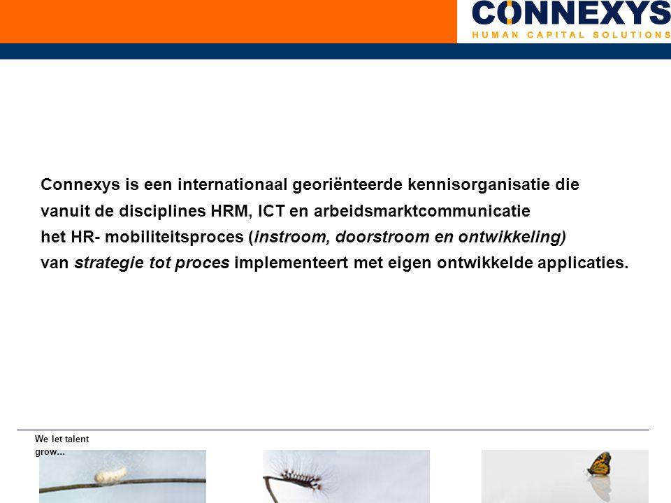 Connexys is een internationaal georiënteerde kennisorganisatie die vanuit de disciplines HRM, ICT en arbeidsmarktcommunicatie het HR- mobiliteitsproces (instroom, doorstroom en ontwikkeling) van strategie tot proces implementeert met eigen ontwikkelde applicaties.