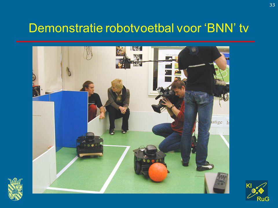 Demonstratie robotvoetbal voor 'BNN' tv