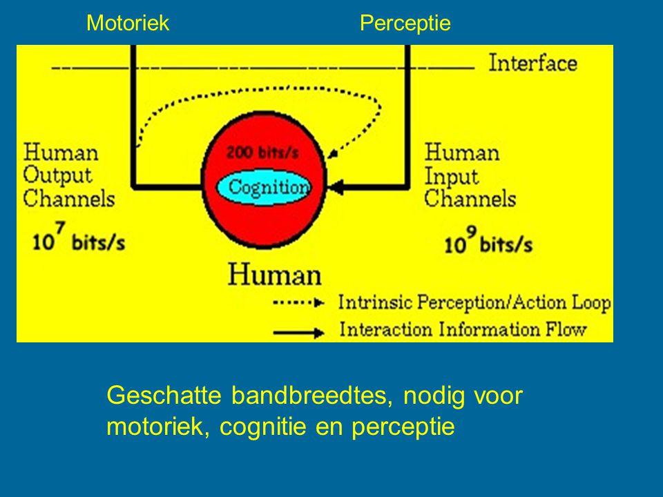 Geschatte bandbreedtes, nodig voor motoriek, cognitie en perceptie