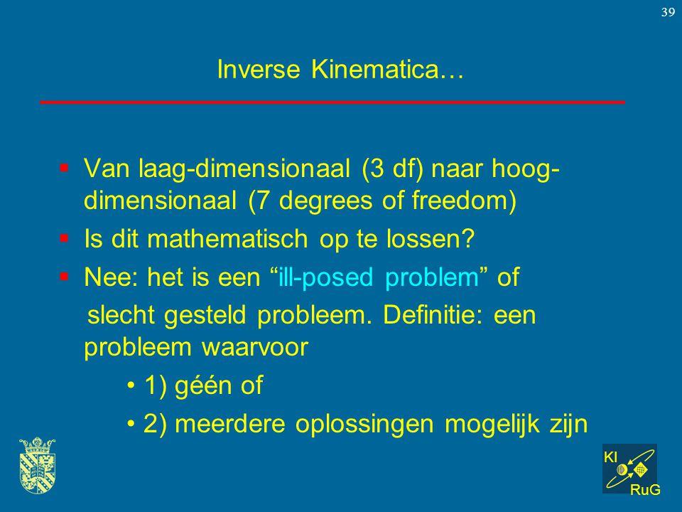 Inverse Kinematica… Van laag-dimensionaal (3 df) naar hoog-dimensionaal (7 degrees of freedom) Is dit mathematisch op te lossen