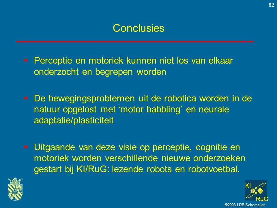 Conclusies Perceptie en motoriek kunnen niet los van elkaar onderzocht en begrepen worden.