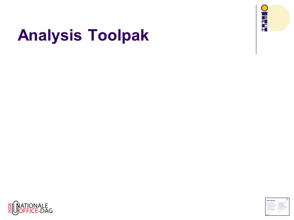 Analysis Toolpak