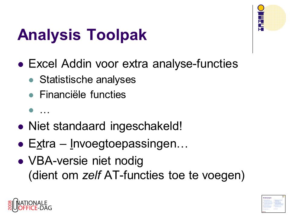 Analysis Toolpak Excel Addin voor extra analyse-functies