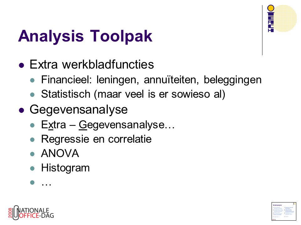 Analysis Toolpak Extra werkbladfuncties Gegevensanalyse