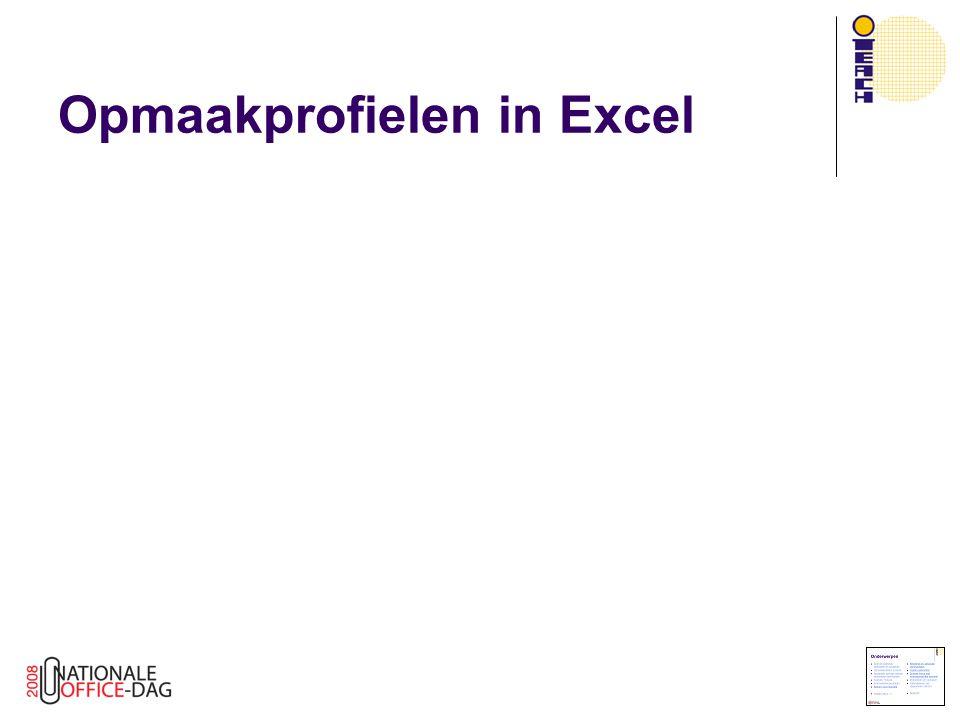 Opmaakprofielen in Excel