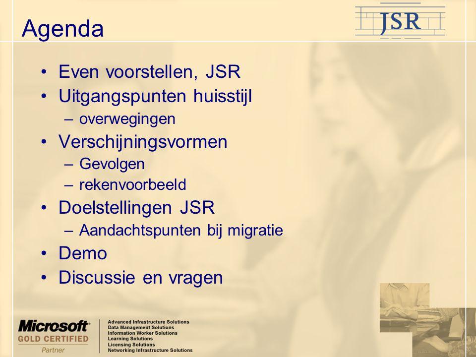 Agenda Even voorstellen, JSR Uitgangspunten huisstijl