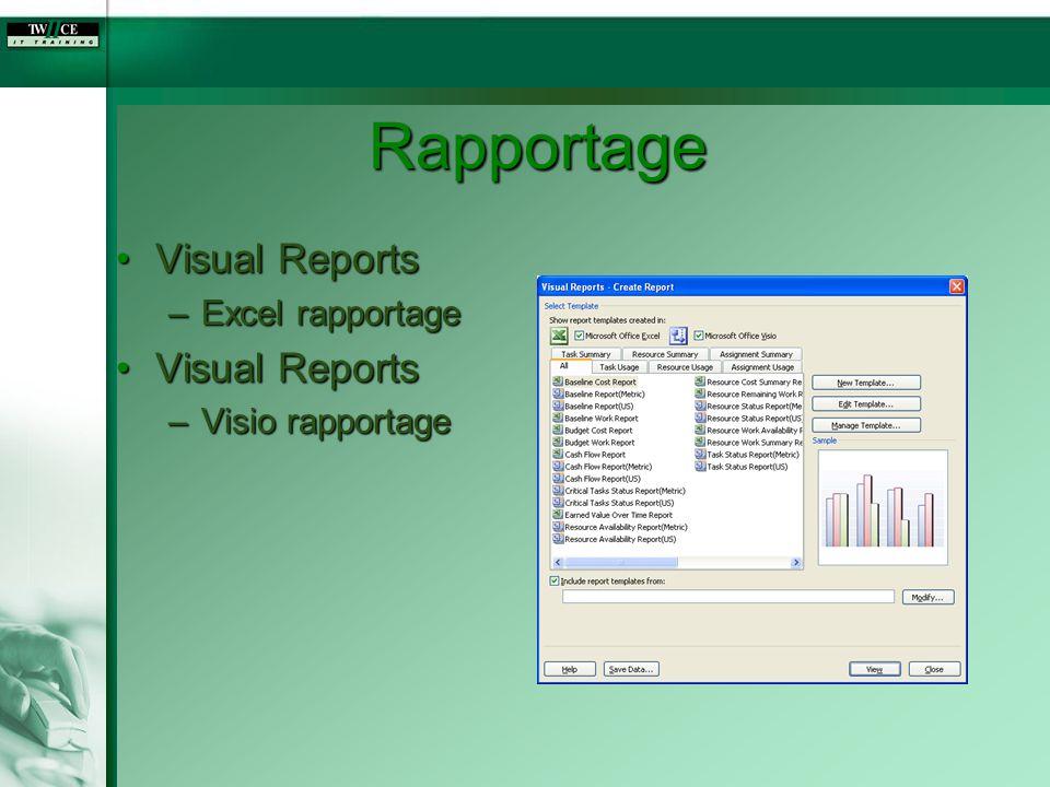 Rapportage Visual Reports Excel rapportage Visio rapportage