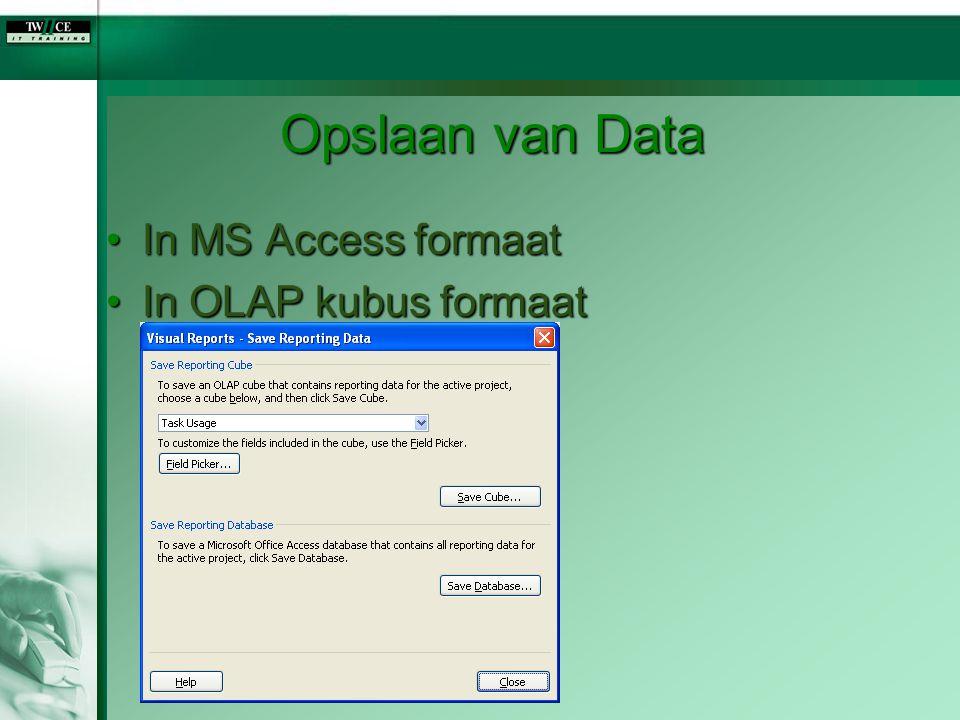 Opslaan van Data In MS Access formaat In OLAP kubus formaat